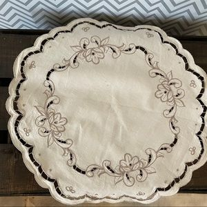 Embroidered Tabletop Cloth - Cream and Brown
